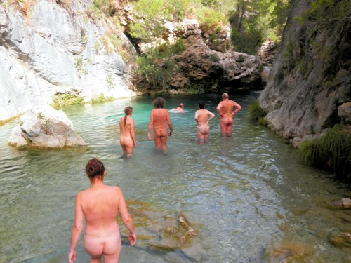 naked river hiking Spain