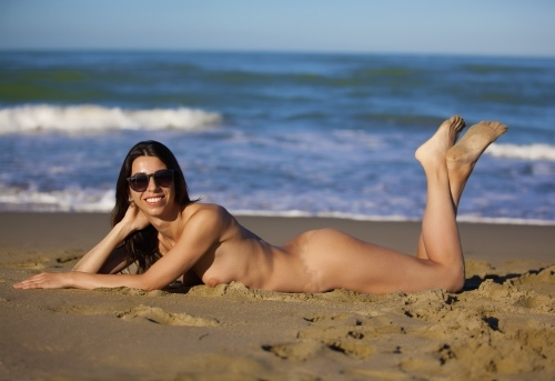 Nude sunbathing Spanish beach